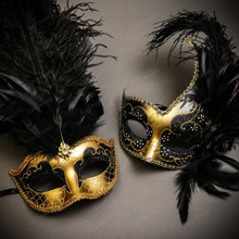 Gold Black Side Feather Glitter & Gold Black Mardi Gras Top Feather Combo Masks Set