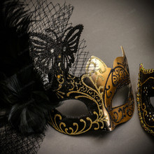 Black Gold Butterfly Lace with Feather & Gold Black Side Feather Glitter Combo Masks Set