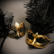 Black Gold Butterfly Lace with Feather & Gold Black Mardi Gras Top Feather Combo Masks Set