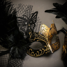 Black Gold Roman Greek Emperor with Tall Feather Men & Black Gold Butterfly Lace with Feather Couple Masks Set