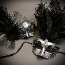 Black Silver Butterfly Lace with Feather & Silver Black Mardi Gras Top Feather Combo Masks Set