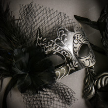 Black Silver Roman Greek Emperor with Tall Feather Men & Black Silver Butterfly Lace with Feather Couple Masks Set