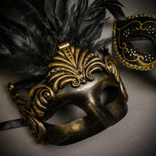 Black Gold Roman Greek Emperor with Tall Feather Men & Gold Black Side Feather Glitter Couple Masks Set