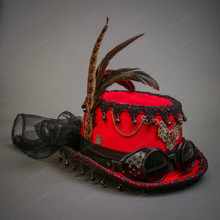 Steampunk Lady Top Hat with Goggles & Feather - Red
