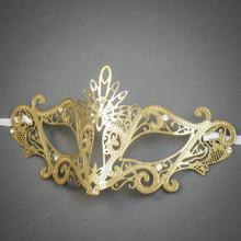 Venetian Masquerade Laser Cut Mask Silver Rhinestone - Gold