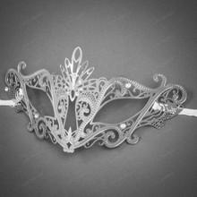 Venetian Masquerade Laser Cut Mask Silver Rhinestone - Silver