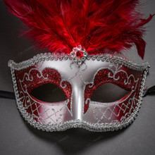 Venetian Women Tall Feather Masquerade Mask - Silver Red