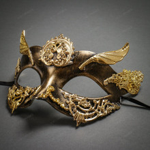 Roman Greek God of Hermes Venetian Mask - Black Gold