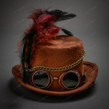 Steampunk Lady Mini Top Hat with Goggles Feather - Brown
