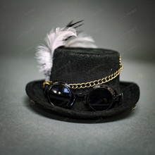 Steampunk Lady Mini Top Hat with Goggles Feather - Black