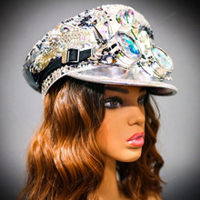 Military Burning Man Top Hat with Kaleidoscope 3D Goggles - Silver