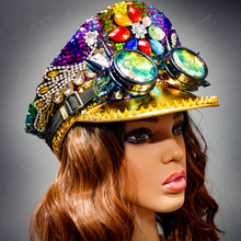 Military Burning Man Top Hat with Kaleidoscope 3D Goggles - Rainbow