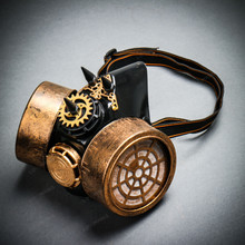 Half Face Steampunk Respirator Gas Mask - Black Gold