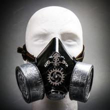 Half Face Steampunk Respirator Gas Mask - Black Silver