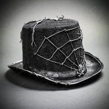 Steampunk Gothic Top Hat Costume with Skull & Spider Web - Black Silver
