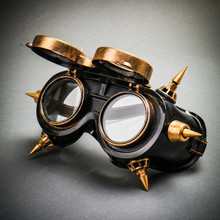 Steampunk Goggles Eye Mask Costume with Flip Up Glasses - Black Gold