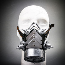 Half Face Steampunk Respirator Gas Mask with Spiked - Black Silver