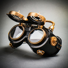 Steampunk Goggles Eye Mask Costume with Spike Gears & Flip Up Glasses - Black Gold