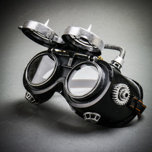 Steampunk Goggles Eye Mask Costume with Spike Gears & Flip Up Glasses - Black Silver