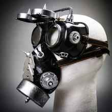 Steampunk Gear Goggles Glasses and Spiked Gas Mask Costume Set - Black Silver