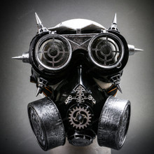 Steampunk Spiked Goggles Glasses and Respirator Gas Mask Costume Set - Black Silver