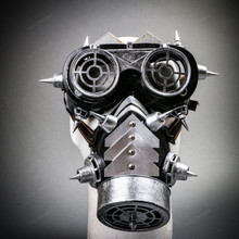 Steampunk Spiked Goggles Glasses and Spiked Gas Mask Costume Set - Black Silver