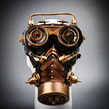 Steampunk Gear Goggles Glasses and Spiked Gas Mask Costume Set - Black Gold