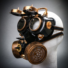 Steampunk Gear Goggles Glasses and Respirator Gas Mask Costume Set - Black Gold