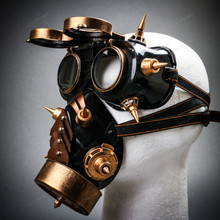 Steampunk Spiked Goggles Glasses and Spiked Gas Mask Costume Set - Black Gold