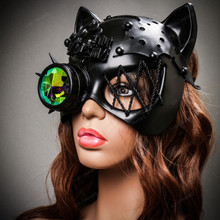 Steampunk Monocular Gatto Cat Venetian Mask Masquerade - Black
