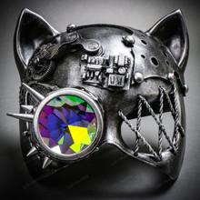 Steampunk Monocular Gatto Cat Venetian Mask Masquerade - Metallic Silver