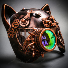 Steampunk Monocular Gatto Cat Venetian Mask Masquerade - Bronze Copper