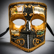 Full Face Luxury Bauta Venetian Party Mask Masquerade - Gold Black