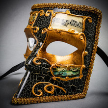 Full Face Luxury Bauta Venetian Party Mask Masquerade - Gold Black