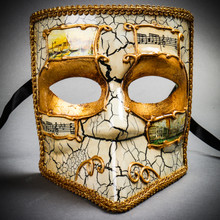 Full Face Luxury Bauta Venetian Party Mask Masquerade - White Gold