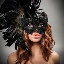 Luxury Traditional Venice Carnival Masquerade Venetian Side Feather Mask - Black (with Female Model)