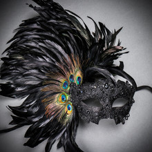 Luxury Traditional Venice Carnival Masquerade Venetian Side Feather Mask - Black