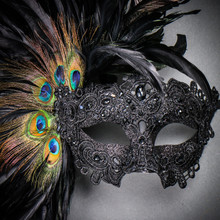 Luxury Traditional Venice Women Carnival Masquerade Venetian Mask -  Black