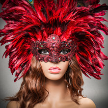 Luxury Traditional Venice Women Carnival Masquerade Venetian Feather Mask - Red with Female Model