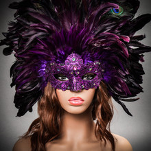 Luxury Traditional Venice Women Carnival Masquerade Venetian Mask - Purple (Female Model)