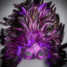Luxury Traditional Venice Carnival Masquerade Venetian Top Feather Mask - Purple