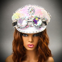 Military Burning Man Top Hat with Kaleidoscope 3D Goggle Female model