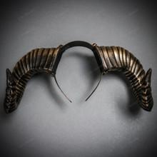 Gothic Demon Large Horn Headband - Black Gold (USM-FS30543-BKGO)