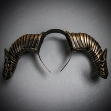 Gothic Demon Large Horn Headband - Black Gold (USM-FS30543-BKGO)