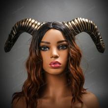 Gothic Demon Large Horn Headband - Black Gold (USM-FS30543-BKGO) with Model