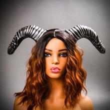 Gothic Demon Large Horn Headband - Black Silver (USM-FS30543-BKSV) with Model