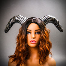 Gothic Demon Large Horn Headband - Black Silver (USM-FS30543-BKSV) with Model