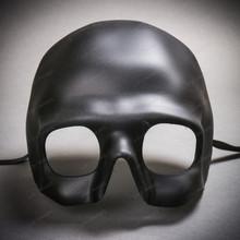 Halloween Skull Half Face Mask Masquerade Day of the Dead - Black