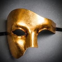 Phantom Venetian Masquerade Half Face Party Mask - Metal Gold
