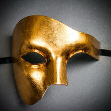 Phantom Venetian Masquerade Half Face Party Mask - Metal Gold